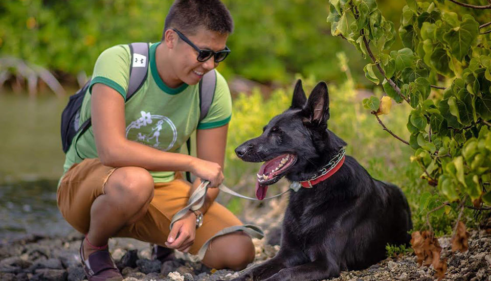 image of dogwalker with dog on trail