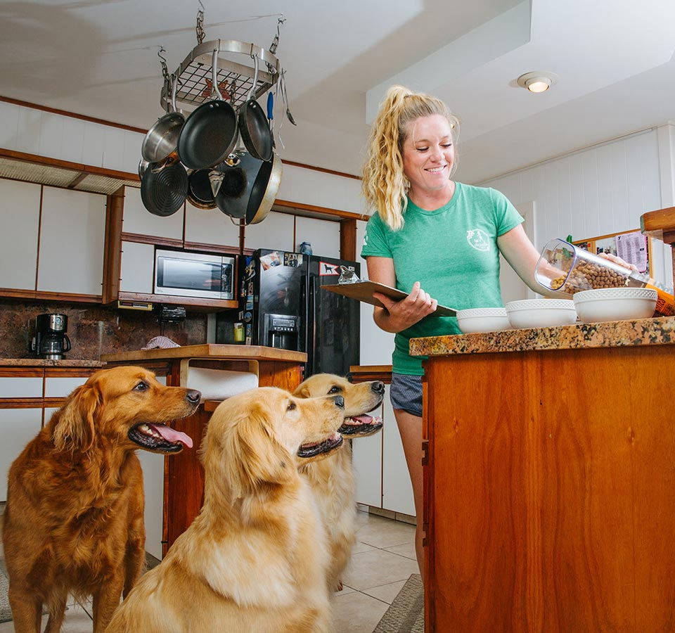image of woman taking care of dogs at a house